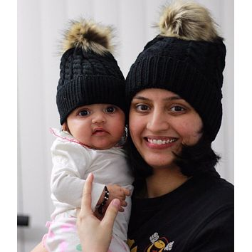 Mommy & Me Beanie Puff Caps - Black Set