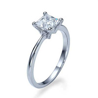 0.92 ct D-VS2 Certified Diamond PRINCESS CUT Engagement Ring 950 Platinum