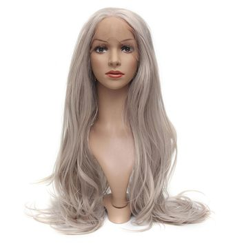 24 Inch Women Hair Platinum Blonde Front Lace Wigs Synthetic Heat Resistant Wig With Cap