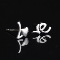 Cute 925 Sterling Silver Love Stud Earrings