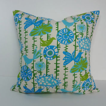 Decorative Pillow Cover, Aqua, Green, Birds Cushion Cover, 18 x 18