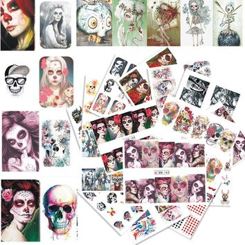 24 Sheets Nail Sticker Halloween Skull Bone Ghost Theme Decals Set for Manicure Full Cover Watermark Nail Art Decor CHBN181-204