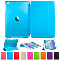 for iPad Mini 1 2 3 Luxury Full Body Ultra Slim Stand Smart Sleep and Wake UP Pu Leather Clear Transparent Back Cover Case