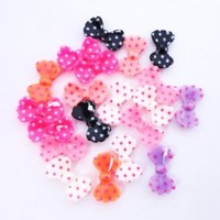 20 pcs Multiple Color 3D Bow Tie Beads Slices Nail Art Tips DIY Decorations 14mm x 8mm
