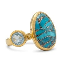 14k Gold Plated Sterling Silver Blue Topaz and Turquoise Ring