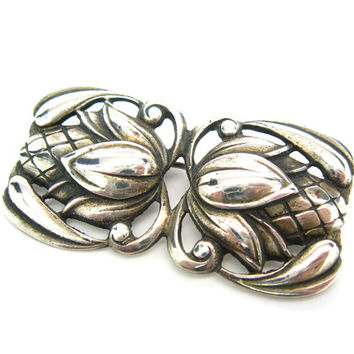 Nordic Style Brooch. Modernist Sterling Silver. Scandinavian Modern Flower Bud by Viking Craft. C. 1940s Vintage Jewelry
