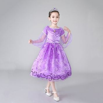 Princess Costume - Lavender Short Sleeve Bubble Gown Skirt Rapunzel Dress - 👗💘👑🎃👠