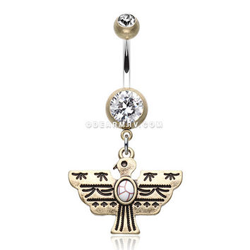 Vintage Boho Aztec Thunderbird Mural Belly Button Ring (Brass/Clear/White)