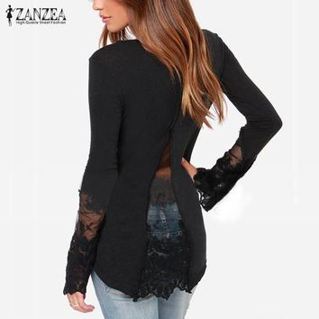 Women's Blouses Shirts Spring Lace Sleeve o-neck