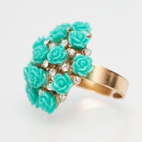 Bouquet Of Roses Ring in Turquoise