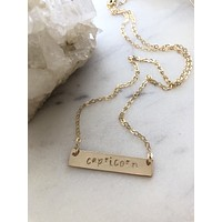 Zodiac Nameplate Necklace