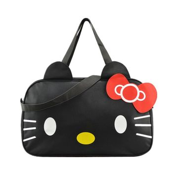 Women's Cute Hello Kitty Shoulder Messenger Bags Girl's Lovely Travel Large Handbag Tote Bag Organizer Accessories Supply Item