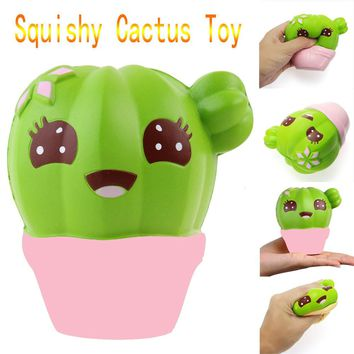 Cactus Cream Scented Squishy Slow Rising Squeeze Strap Kids Toy