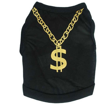 black or blue dog T-shirt with gold chain