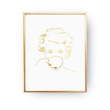 Morning Look Print, Fashion Poster, Real Gold Foil Print, Makeup Print, Wardrobe Art, Morining Coffee, Hair Rollers, Bedroom Decor, Casual