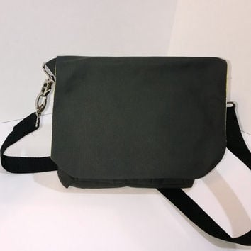 Charcoal and Green Paisley Waxed Canvas Small Messenger Style Bag ***Ready to Ship***