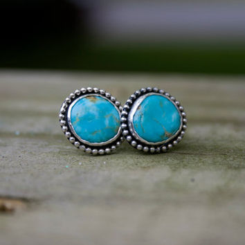 Natural Turquoise Sterling Silver Stud Earrings