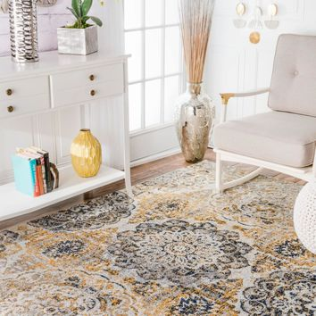 nuLOOM Lita Faded Damask Area Rug