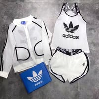 "shosouvenir : ""Adidas"" Fashion Casual Multicolor Clover Letter Print Vest Sunscreen Shirt Coat Set Three-Piece Sportswear"