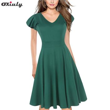 Oxiuly Vintage Solid Women Elegant Casual Work Party Fit and Flare A-line Tunic Office Casual A Line Skater Dress Vestidos
