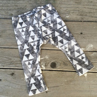 Baby Leggings - Distressed Black Geometric Triangles Organic Cotton Knit