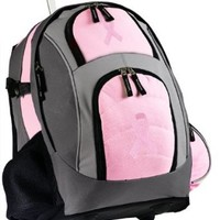 Pink Ribbon Rolling Backpack Deluxe Pink Breast Cancer Support Backpacks Bags w