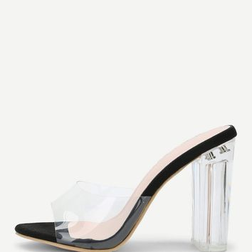 Clear Design Block Heeled Pumps Black