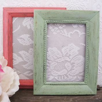 Mint And Coral Pink Picture Frame Set Of 2 Shabby Chic Wall Decor