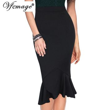Vfemage Womens Vintage Asymmetric Ruffle Hem Elastic High Waist Work Business Office Casual Party Mermaid Pencil Midi Skirt 9031