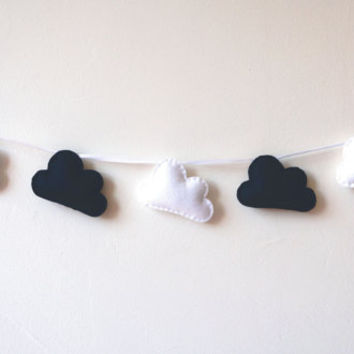 Black & White Clouds, Cloud garland, Cloud bunting, Black and White clouds, nursery decor, photo prop, nursery clouds, baby shower gift