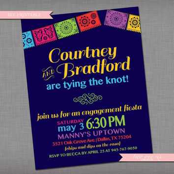 Fiesta Engagement Party Invitation  - Customized Bachelorette Bridal Shower Wedding Rehearsal Invitation - Housewarming Party Invitation