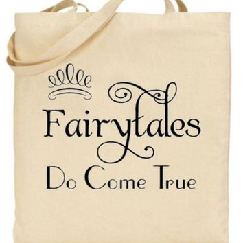 Fairytales Do Come True Tote Bag - Bride to Be, Newlywed, Bridal, Wedding, Shower, Bachelorette Party Gift