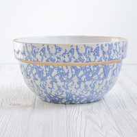 Vintage Mixing Bowl Blue Spongeware - Kitchen, Dish, Rustic