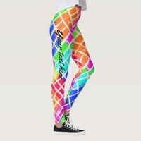 Colorful random checks cute custoomizable leggings