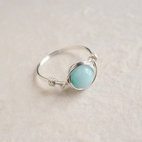 Aqua Mint Jade Ring - unique ring - cute ring