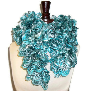 "Ruffled Crocheted Scarf ""Seaside Fluff"""