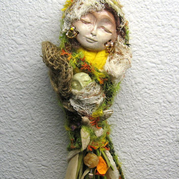 OOAK Ostara, Goddess of Spring Art Doll,  Imbolc Kitchen witch.  Assemblage Bohemian Folk Art Originals