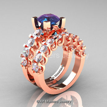 Modern Vintage 14K Rose Gold 3.0 Ct Alexandrite White Sapphire Designer Wedding Ring Bridal Set R142S-14KRGWSAL