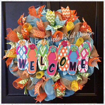 Spring Wreath, Summer Wreath, Burlap Mesh Wreath, Flip Flop Wreath, Welcome Sign Wreath, Beach Wreath, Burlap Welcome Wreath