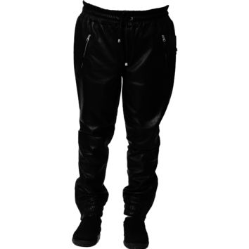 Mens Leather Joggers Black Sweat Pants Relaxed Fit Smooth Nappa Sheepskin Red Liner
