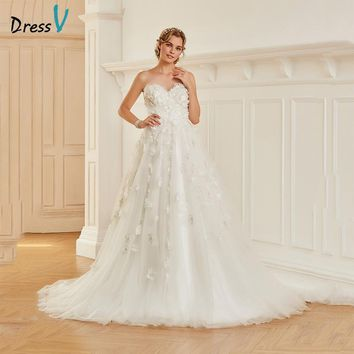 Dressv Long Sweetheart Ball Gown Wedding Dress Floor Length Sleeveless Appliques Tulle Zipper UP Princess Church Wedding Dresses
