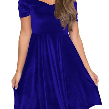 Blue Velvet Off Shoulder Pleated Midi Skater Dress