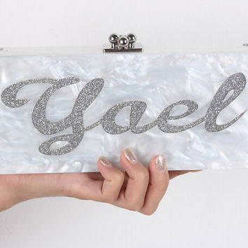 private letter alphanumeric pearly-lustre clutch Customized evening bags party prom dinner wedding clutch handbag