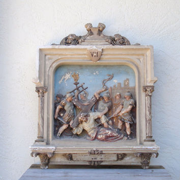 Antique Station of the Cross Architectural Salvage Religious Art Catholic Relic 7th Station of the Cross