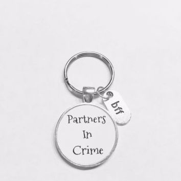 Best Friends Partners In Crime Bff Friend Friendship Gift Keychain