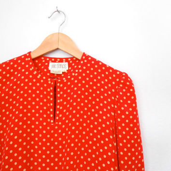 Polka Dot Vintage Red and Cream Silk 100%  Blouse. Cute Hippie Blouse Gypsy Gift for Her Size 6 Free Shipping