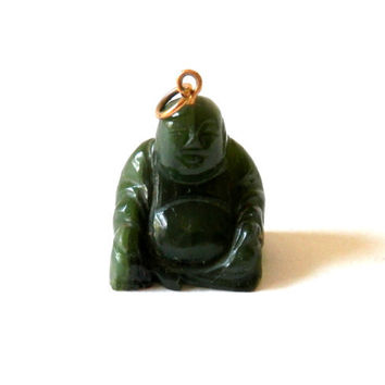 Carved Green Jade Buddha Pendant or Charm