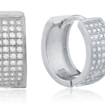 925 Silver Six-row Micro Pave 13.5mm Huggie Earrings with Cz (Silver-plated)