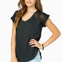 Stud Trim Lattice Back Chiffon Tee