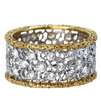 Buccellati Diamond and two color Gold Band Ring